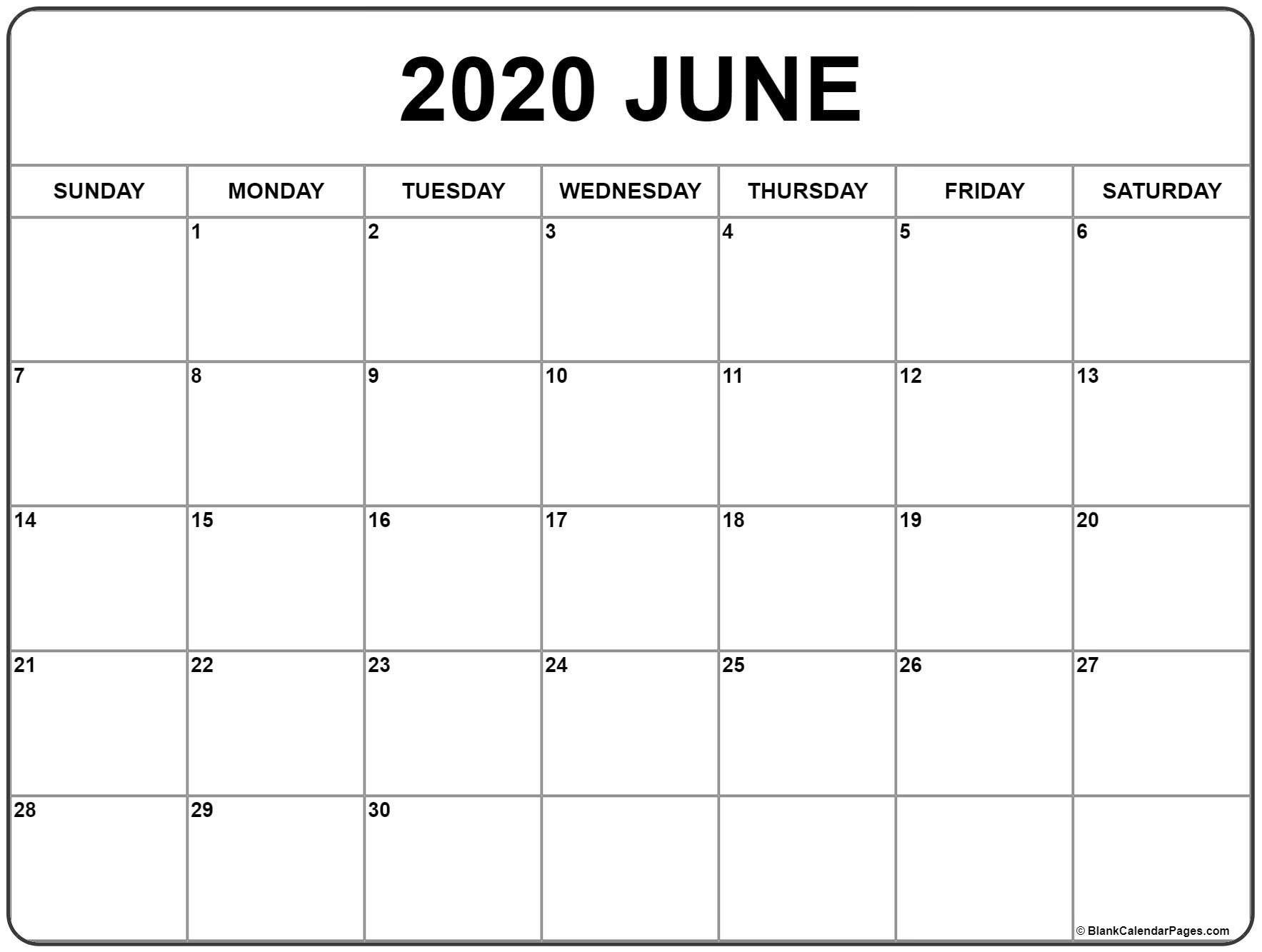 Printable June Calendar 2020 Di 2020