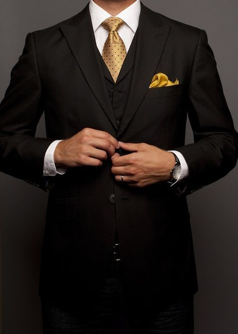 All Black Suit& Black&Gold Polkadot Tie