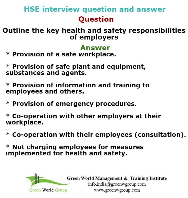 Health And Safety Interview Tips HttpGreenworldsaudistuff