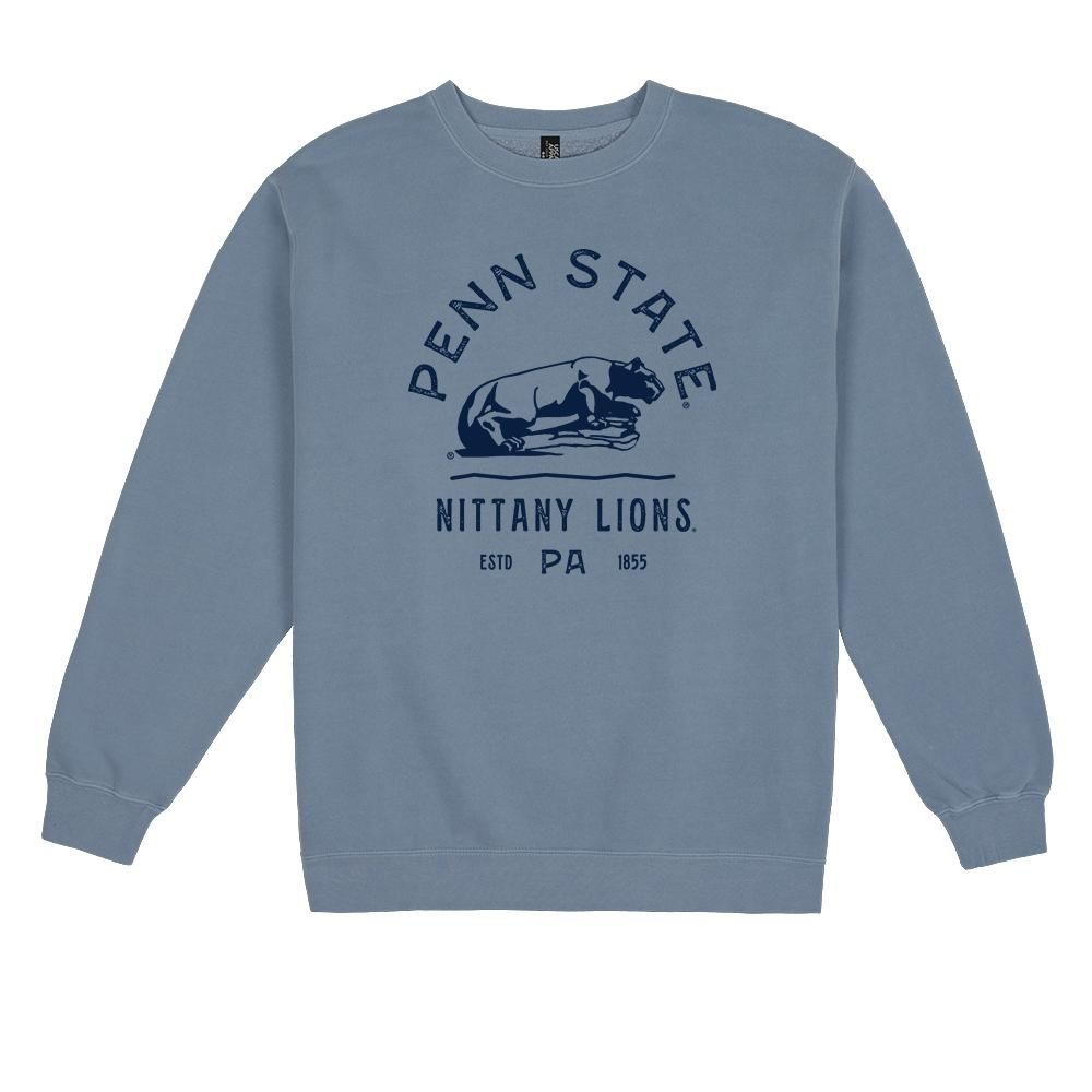 Penn State Typography Pigment Dyed Crew - XS / Slate Blue