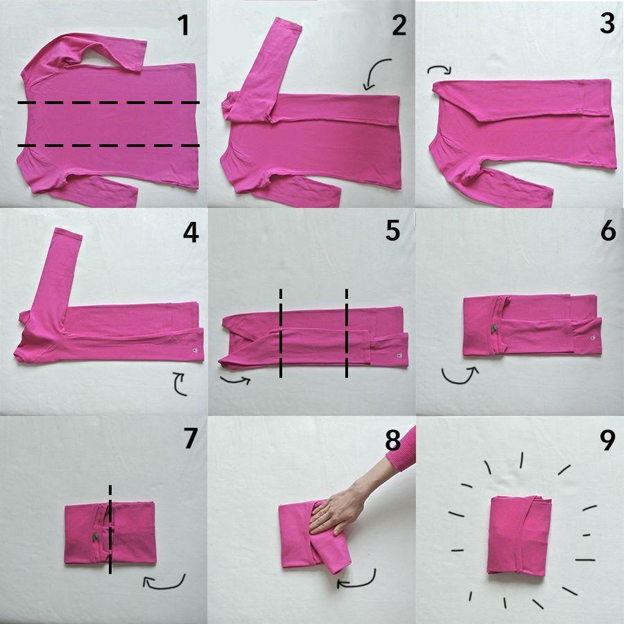 Ordnung im Kleiderschrank - platzsparendes Zusammenlegen von Kleidern - rosanisiert