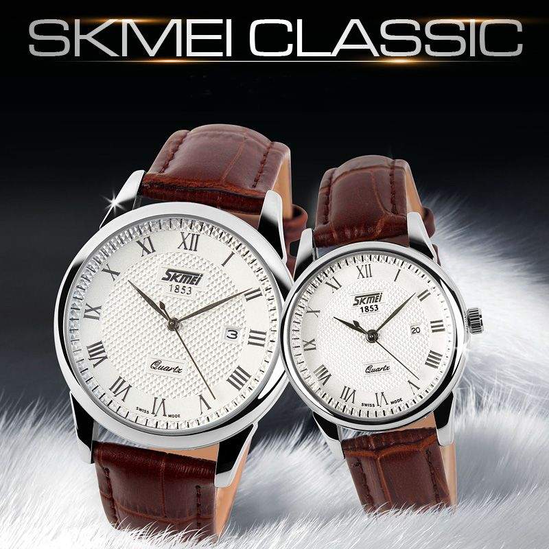 New SKMEI Lover's Watches Luxury Brand Quartz Watch For Men Women Fashion Casual Leather Dress Wristwatches Gold Black 2PCS - Online Shopping for Watches