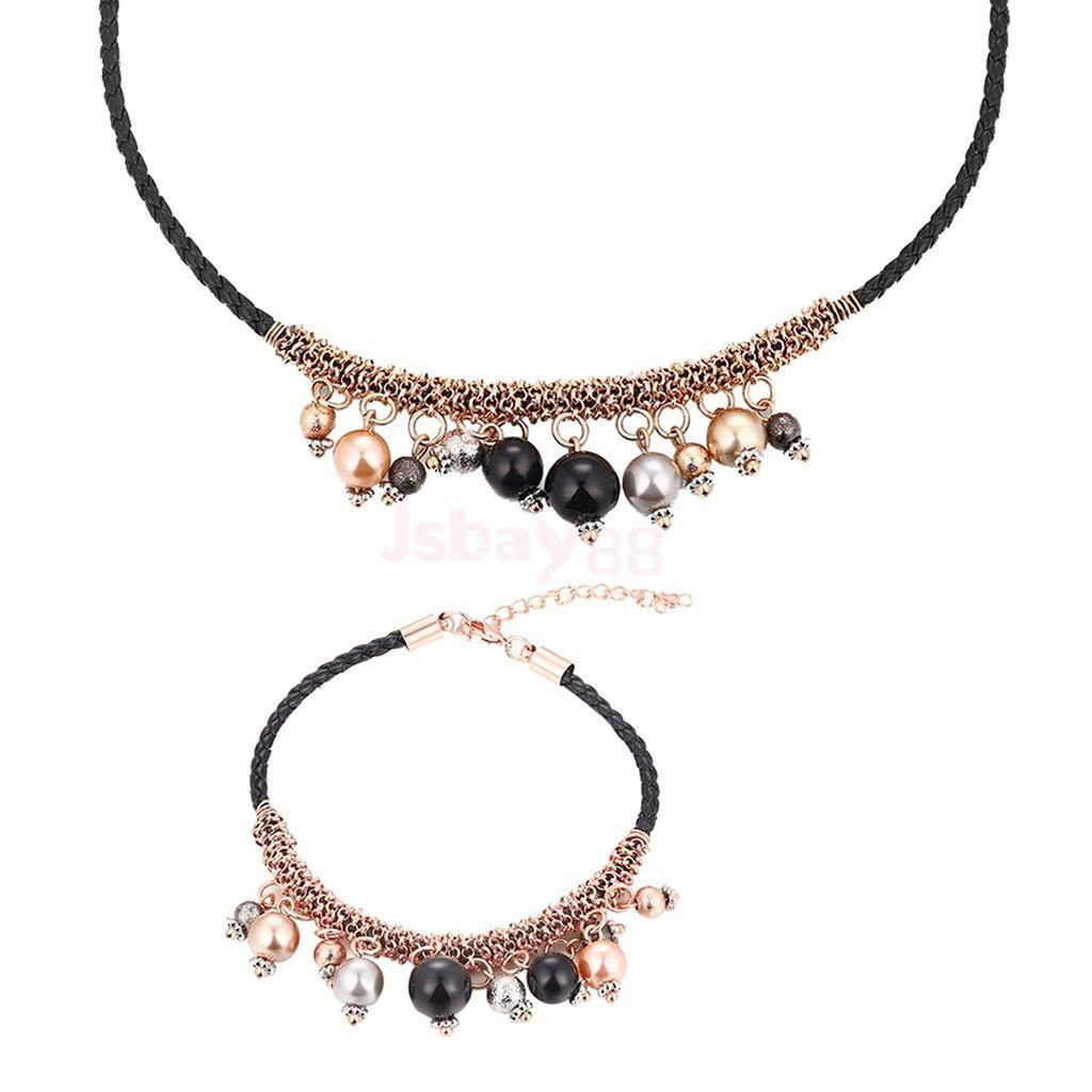 pieces lady popular rose gold plated elegant beads necklace