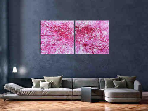 Abstraktes Acryl Gemälde pink und weiß sehr modern | Gemälde ...