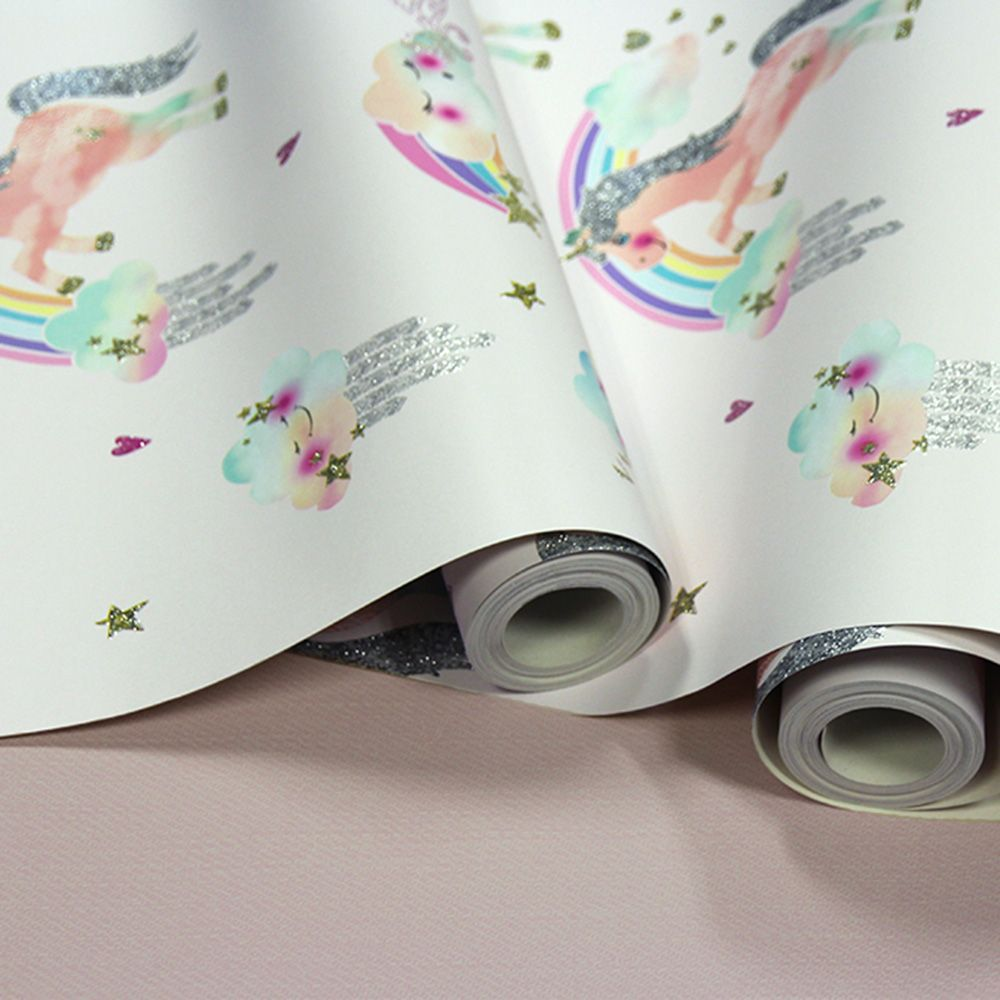 Best Rainbow Unicorn Glitter Wallpaper White Arthouse 696109 400 x 300