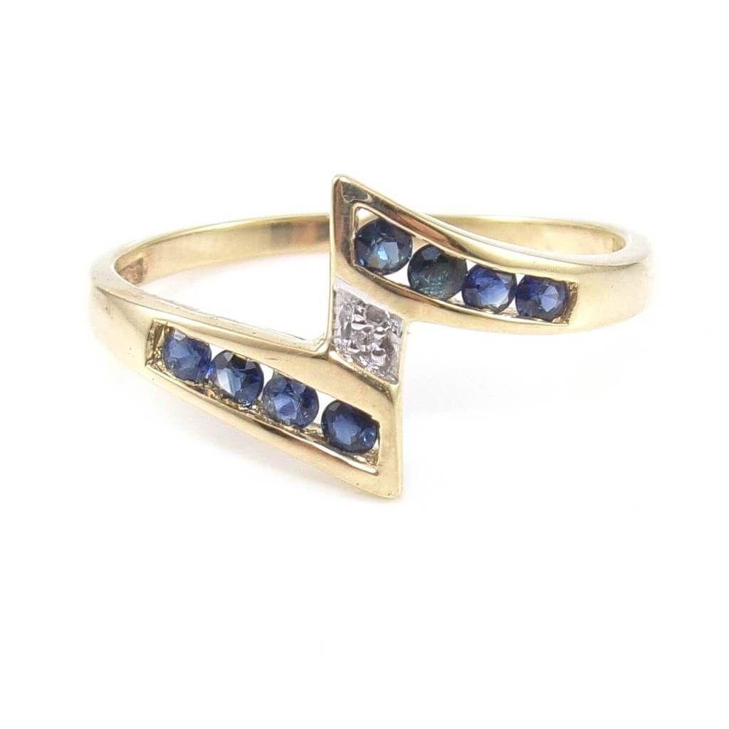 10k Yellow Gold Blue Sapphire Diamond Accent Bypass Band Ring Size 8 5 Blue Sapphire Diamond Diamond Rings Bands Blue Sapphire