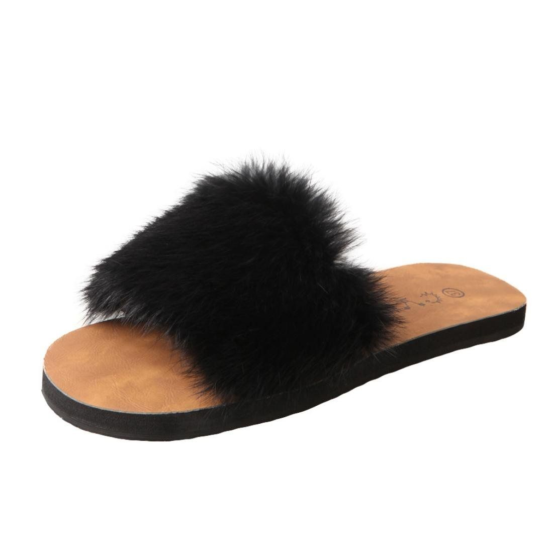 a1d98ff6646 SUKEQ Womens Summer Faux Fur Slippers Slip On Fluffy Slippers Slide ...
