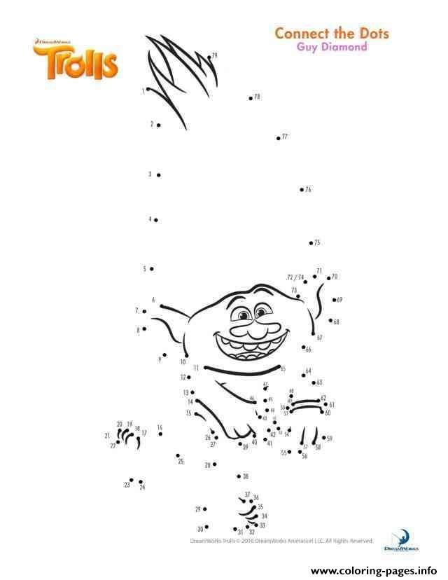 Print Guy Diamond Connect The Dots Trolls Coloring Pages