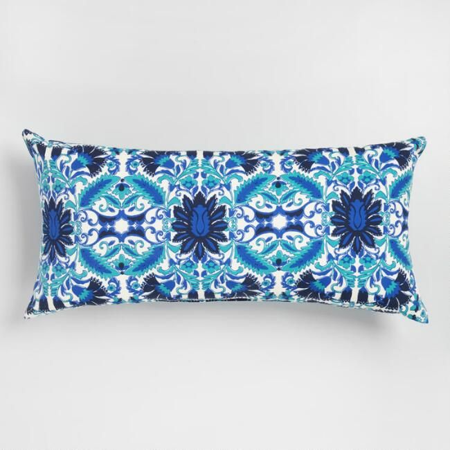 Oversized Blue Zuri Print Outdoor Patio Lumbar Pillow   Polyester By World  Market | Pillows, Backyard And Patios