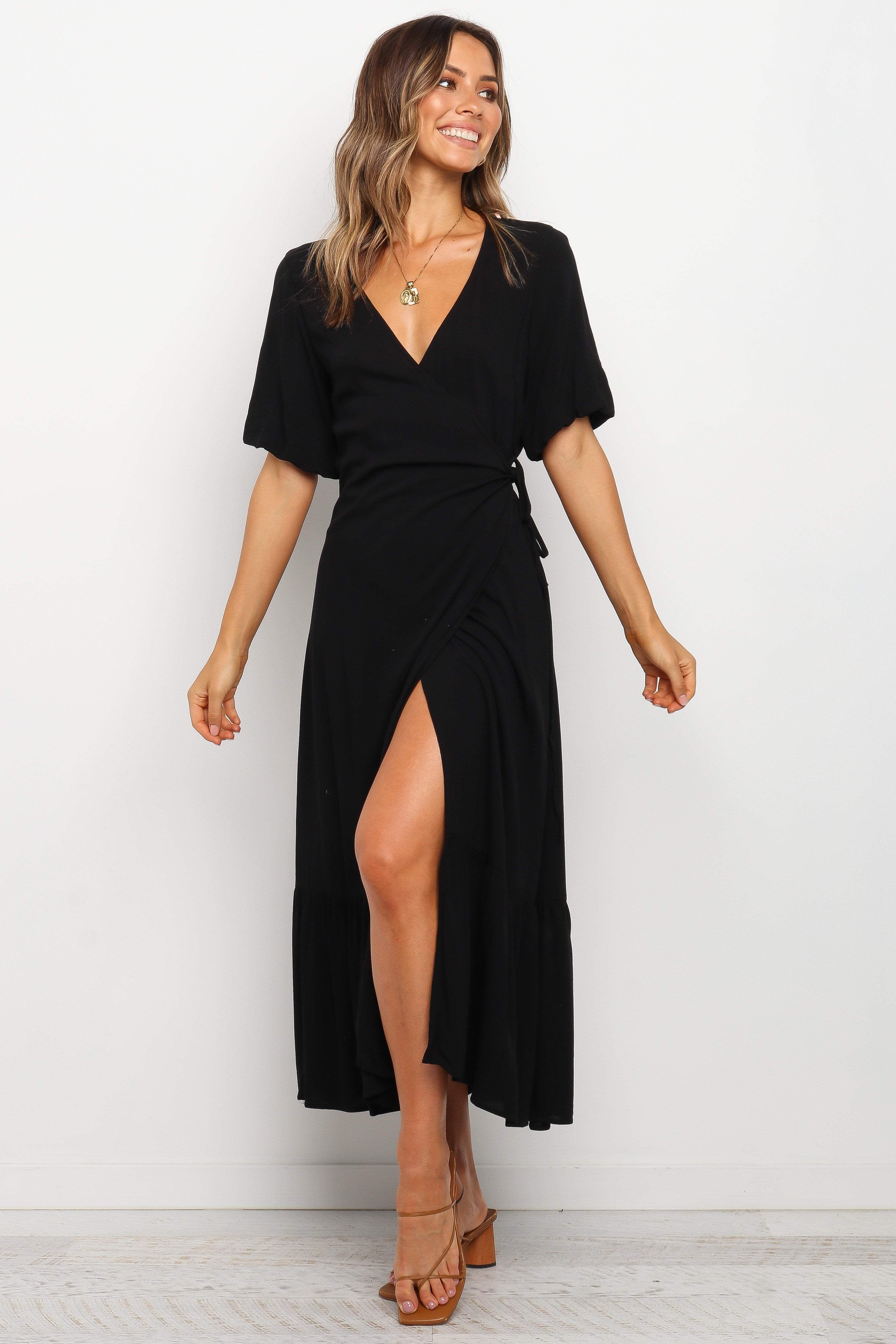 Bunya Dress Black 8 Wrap Dresses Summer Casual Dresses Black Short Dress [ 5338 x 3559 Pixel ]