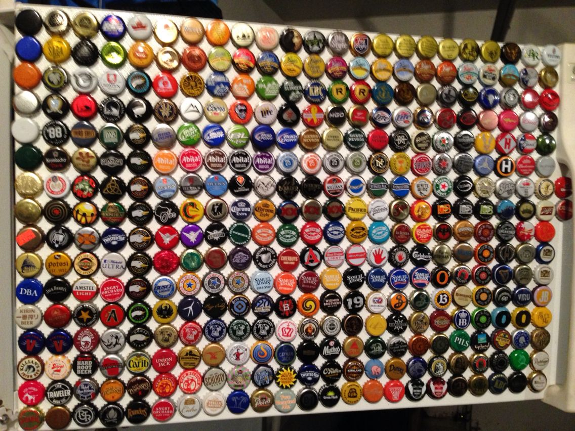 Beer Cap Magnet Collection On My Garage Fridge  All Different, Kind Of An  Obsession