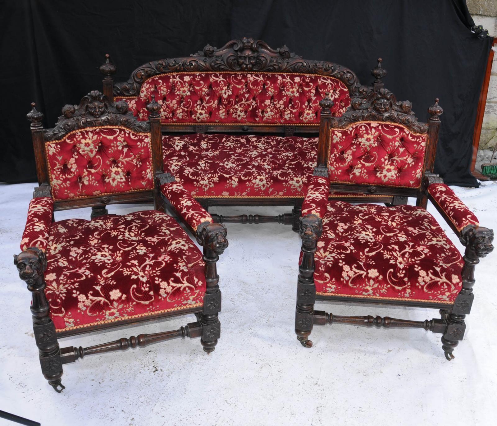 Best Antique Oak Carved 3 Piece Suite Sofa Arm Chair English 400 x 300