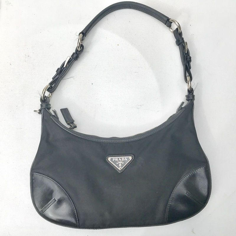 57a159ab4a41 PRADA Black small zip Tessuto Purse BAG nylon leather strap shoulder  authentic
