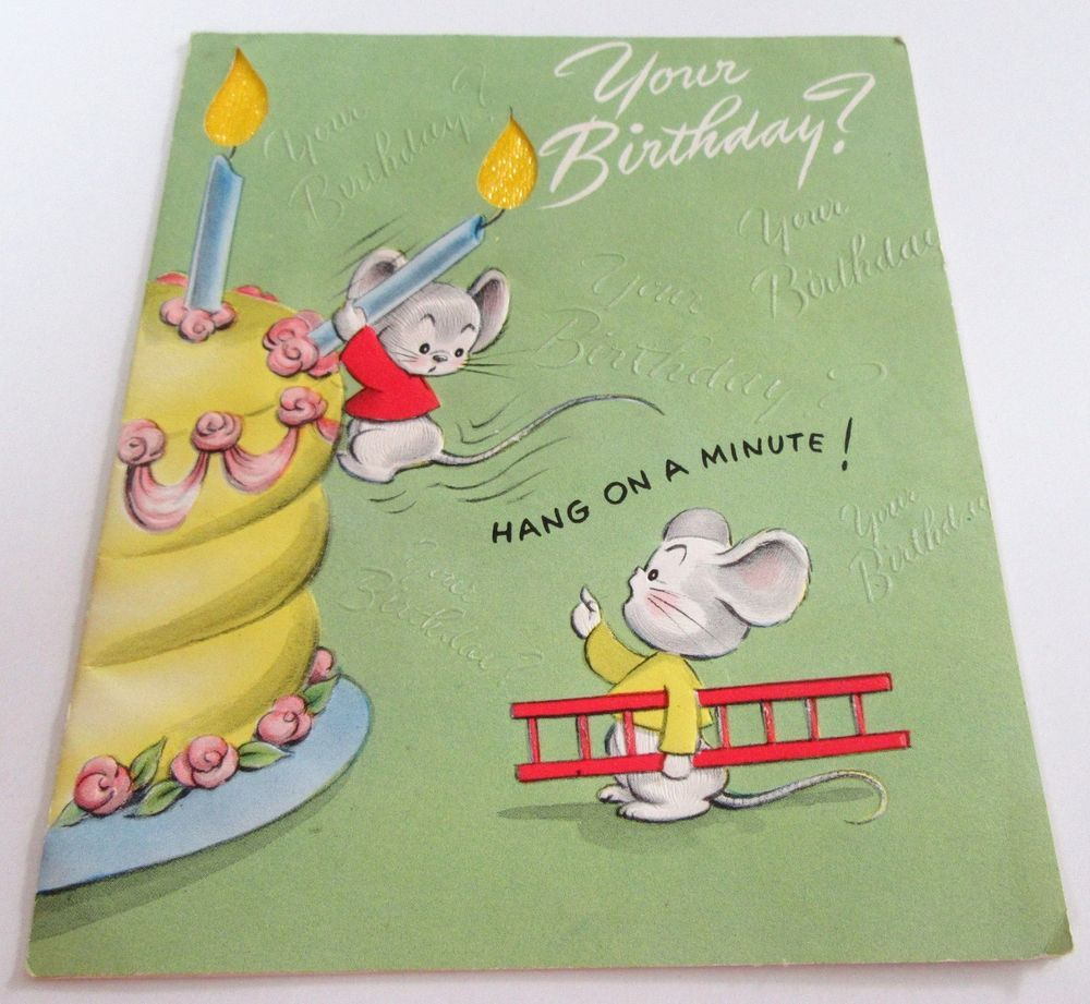 used vtg greeting card mice w big candles on cake w ladder to climb cake - Big Greeting Cards