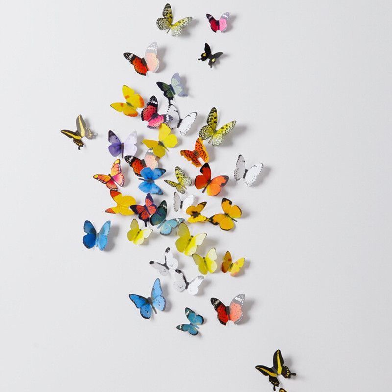 19Pcs/Lot 3D Butterfly Wall Paper Stickers Decals Home Decor Poster