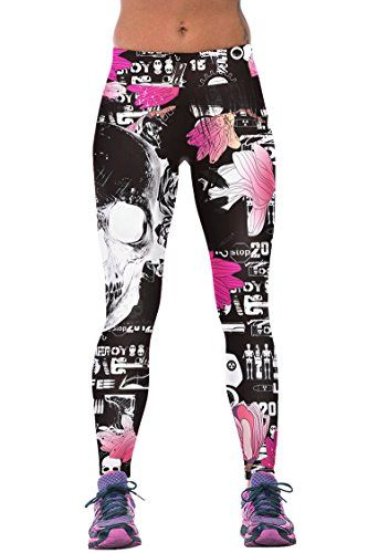 7125528f0aa1f Womens Skeleton Floral Print Skinny Leggings Running Tights Rose Red One  Size * Want to know more, click on the image.(This is an Amazon affiliate  link)