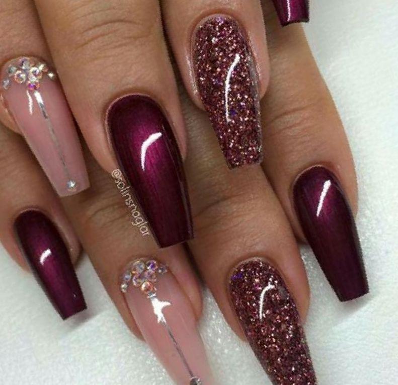 Burgundy And Pink Nail Designs 1 1 Jpg 791 765 Burgundy Acrylic Nails Burgundy Nails Maroon Nails