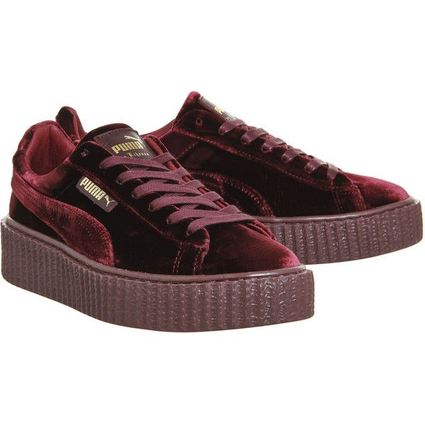 Puma Velvet Creepers Burgundy Velvet Fenty - Hers trainers ( 135) ❤ liked  on Polyvore featuring shoes and sneakers 2f8620efe