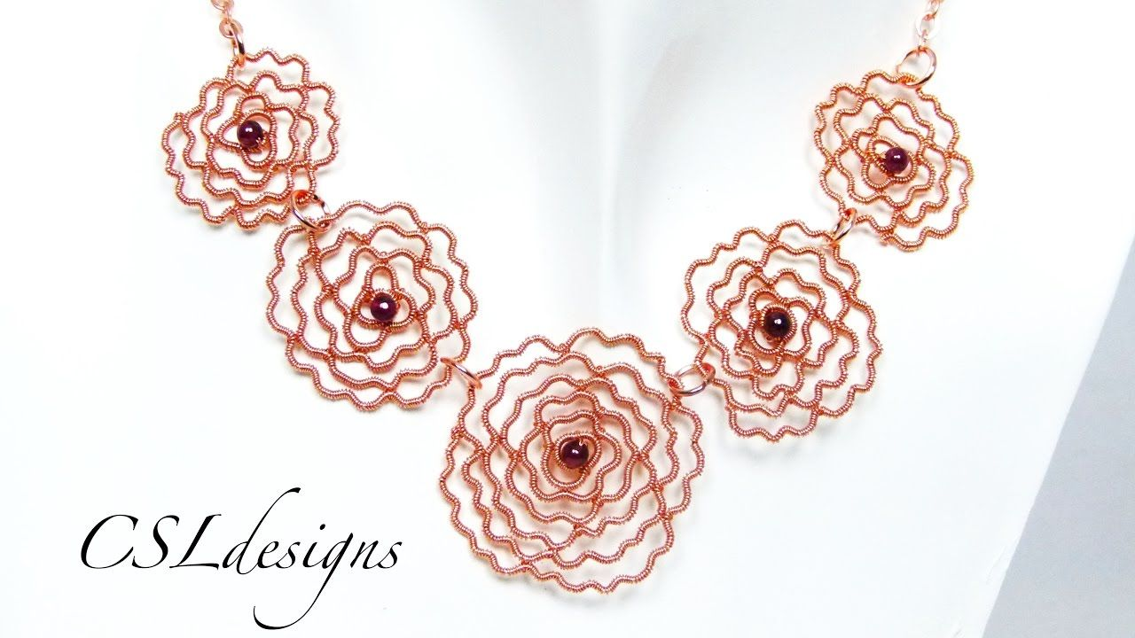 Rose wirework necklace   Wire Jewelry Tutorials   Pinterest   Wire ...