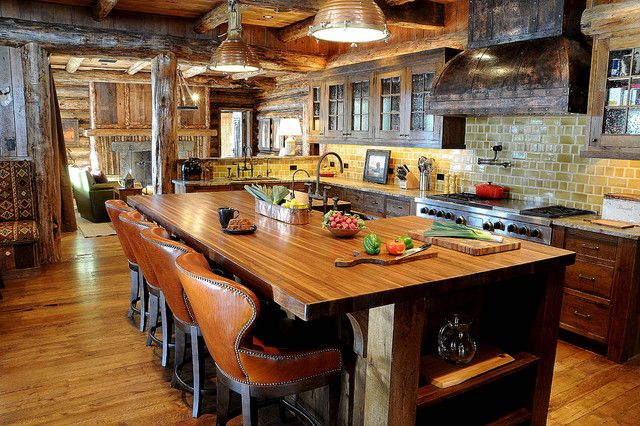 Brilliant Rustic Kitchen Design Interior With Wooden Kitchen Furniture And  Leather Bar Stools Decoration Ideas Inspiration
