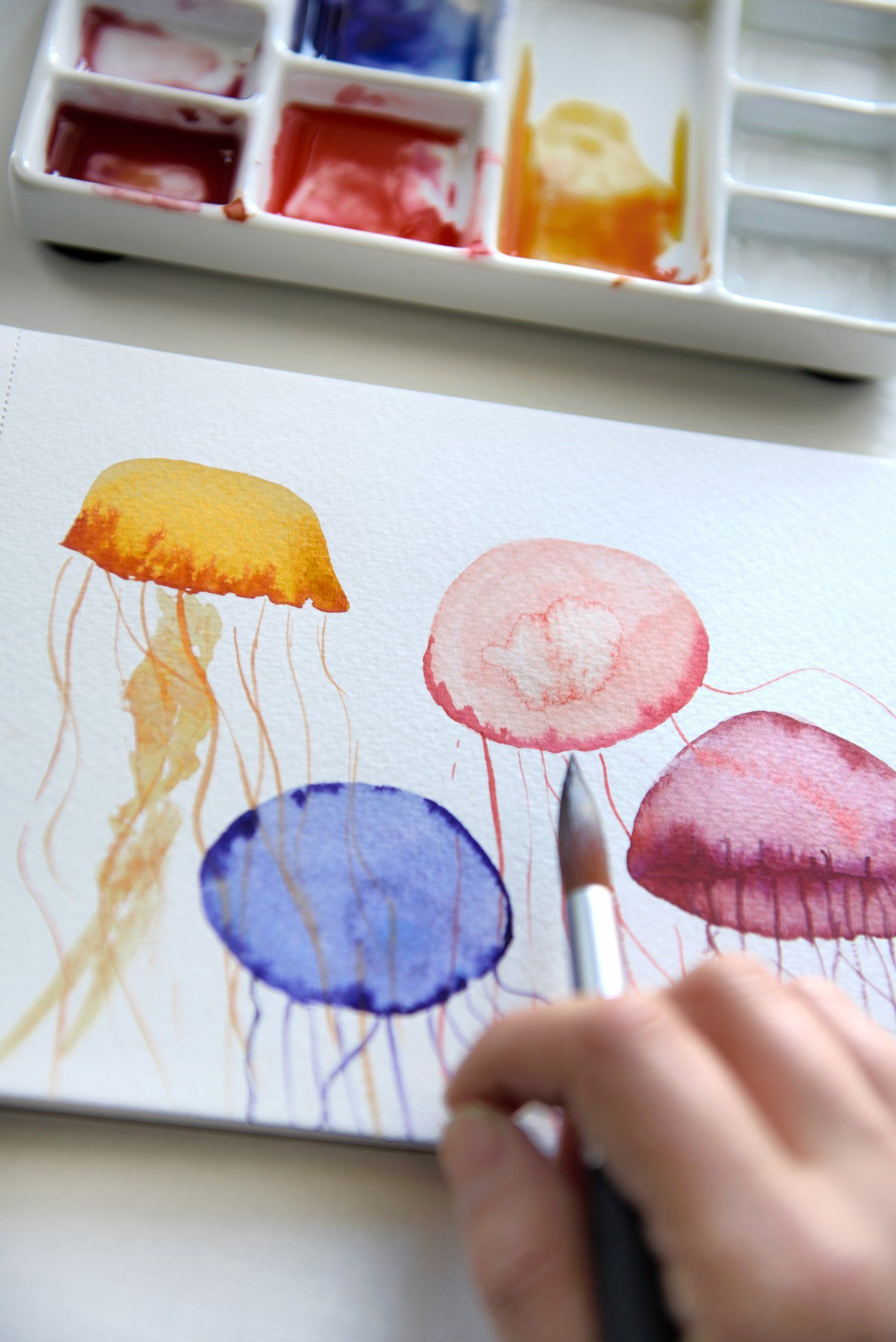 Watercolor Tutorial Easy Jellyfish Watercolor Art Lessons Easy