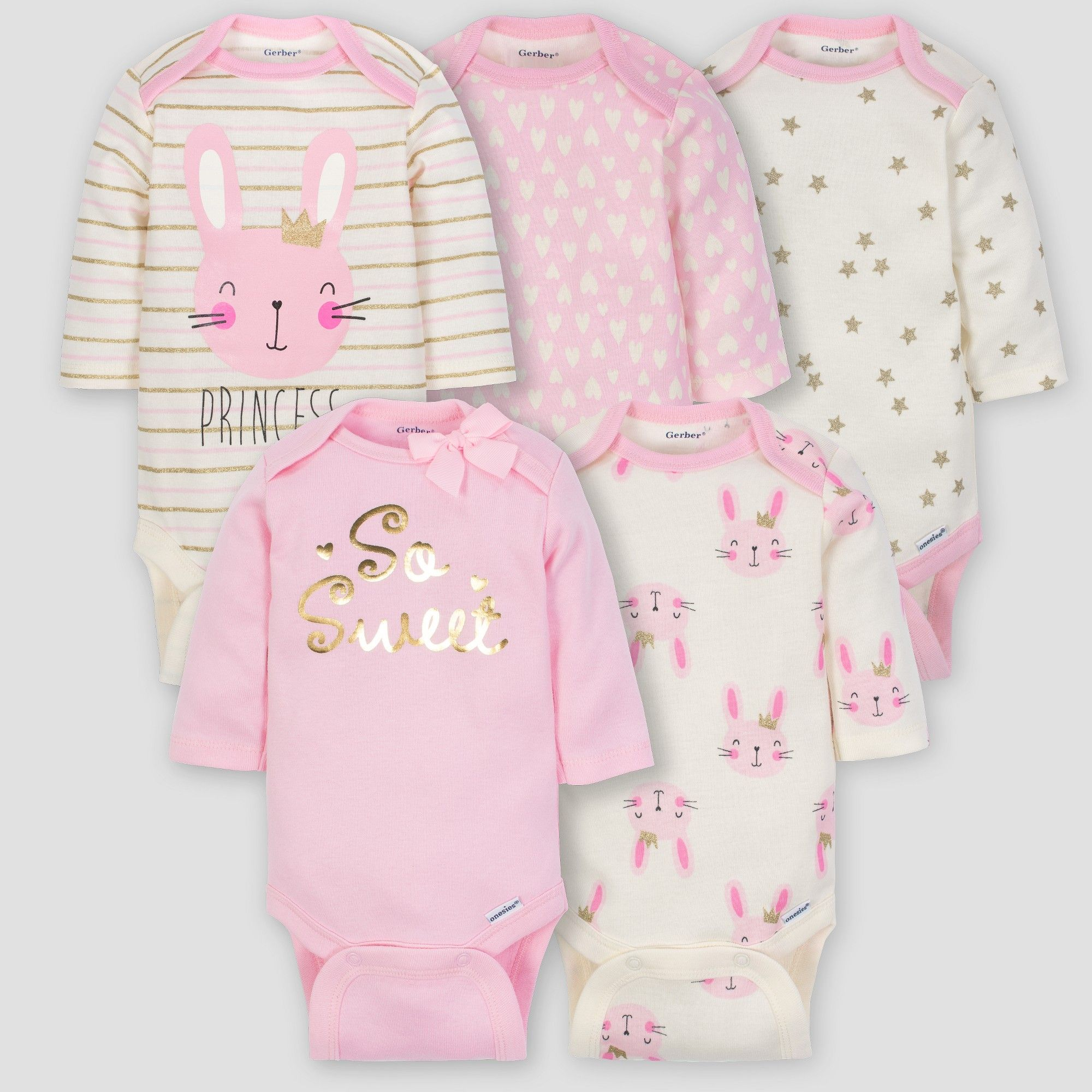 Baby Girl Lot of 4 Onesies Happy Cat Hearts Dots Gerber NWT Size NB 0-3  3-6