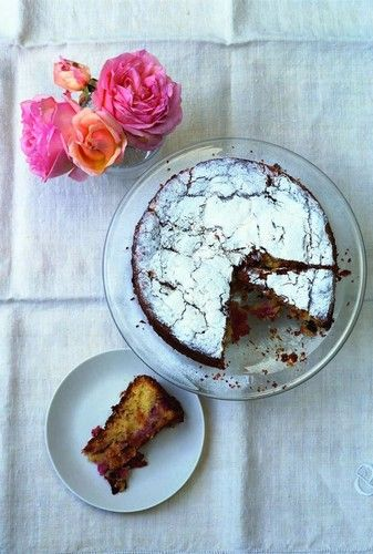 Nigel Slater A cake for midsummer - raspberries, apricots and almonds