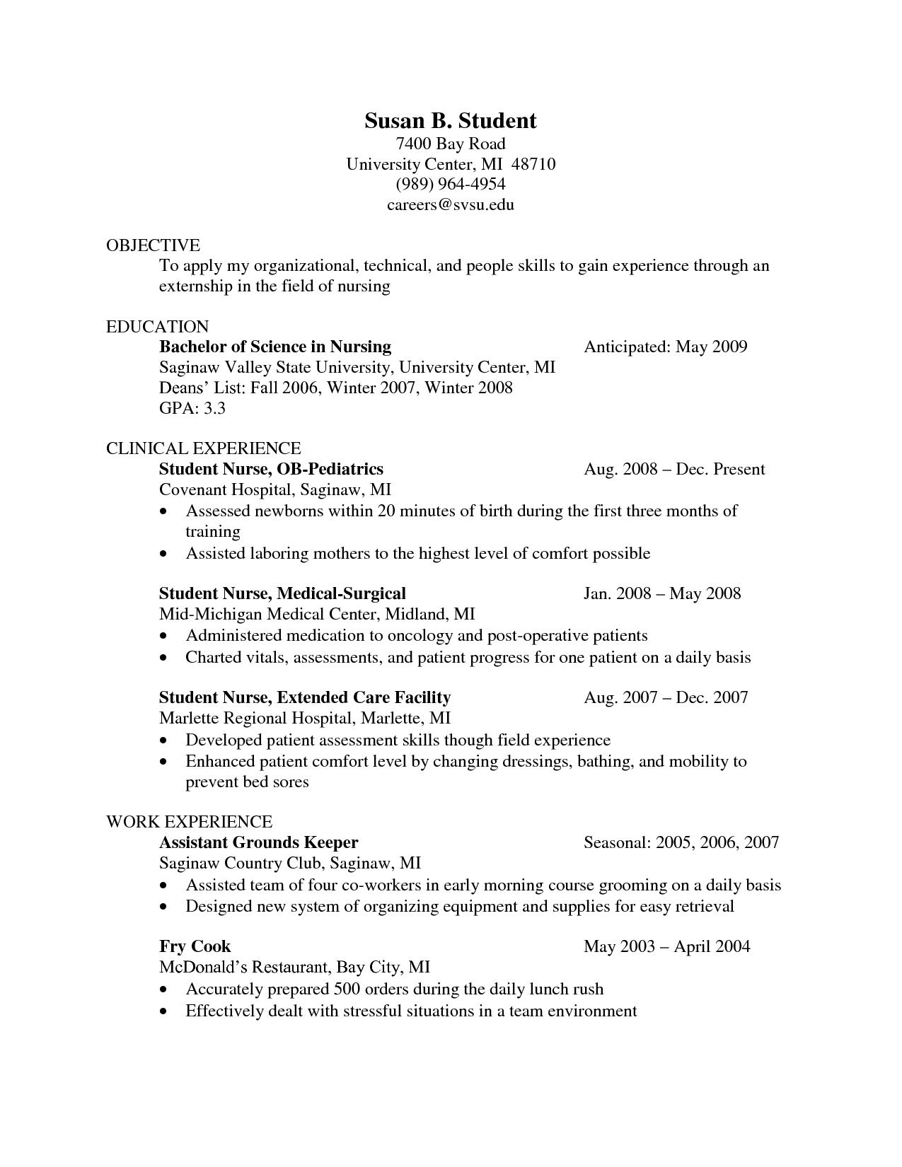 Graduate Nurse Resume Clinical Experience Resumes For Nursing