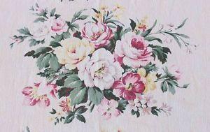 "Vintage 40s Romantic Barkcloth Era Cabbage Roses Single Drape 82 1 2"" x 34"" | Vintageblessings"