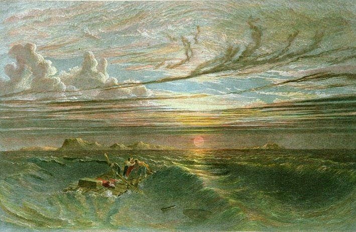 Sunset at Sea After a Storm (Restrike Etching) Etching by Francis Danby