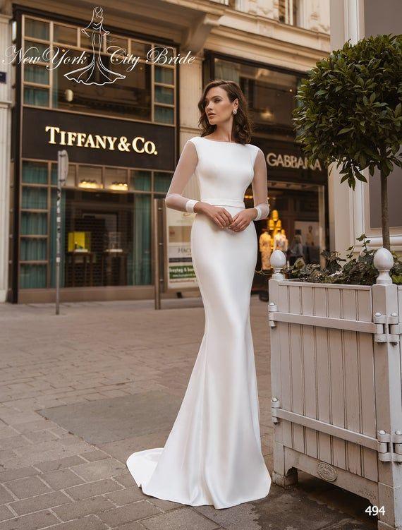 Sheath wedding dress Alaia, Long sleeve wedding dress, Satin wedding dress, Bridal gown, Cathedral w