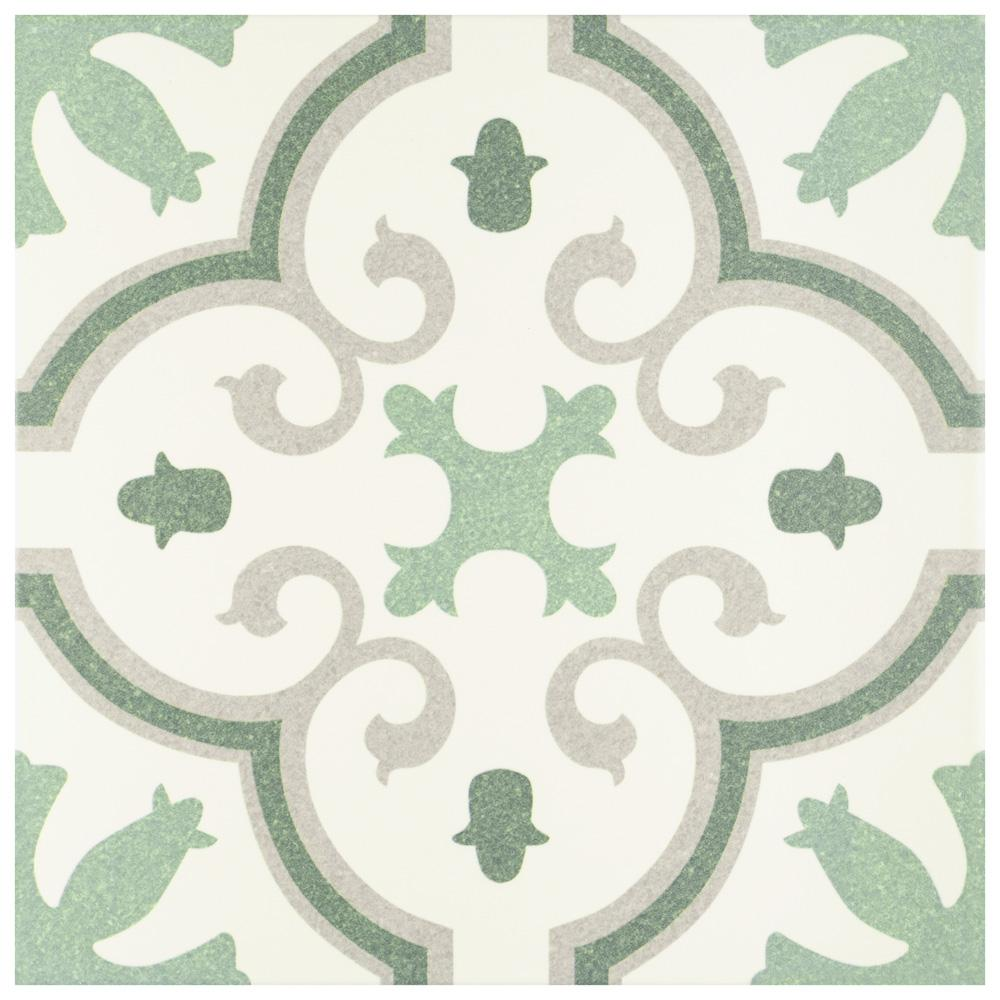 green porcelain floor and wall tile