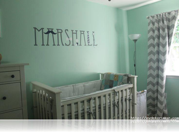 Mint Yeşili Bebek Odası Bebek Odası Gri Bebek Odası Ve
