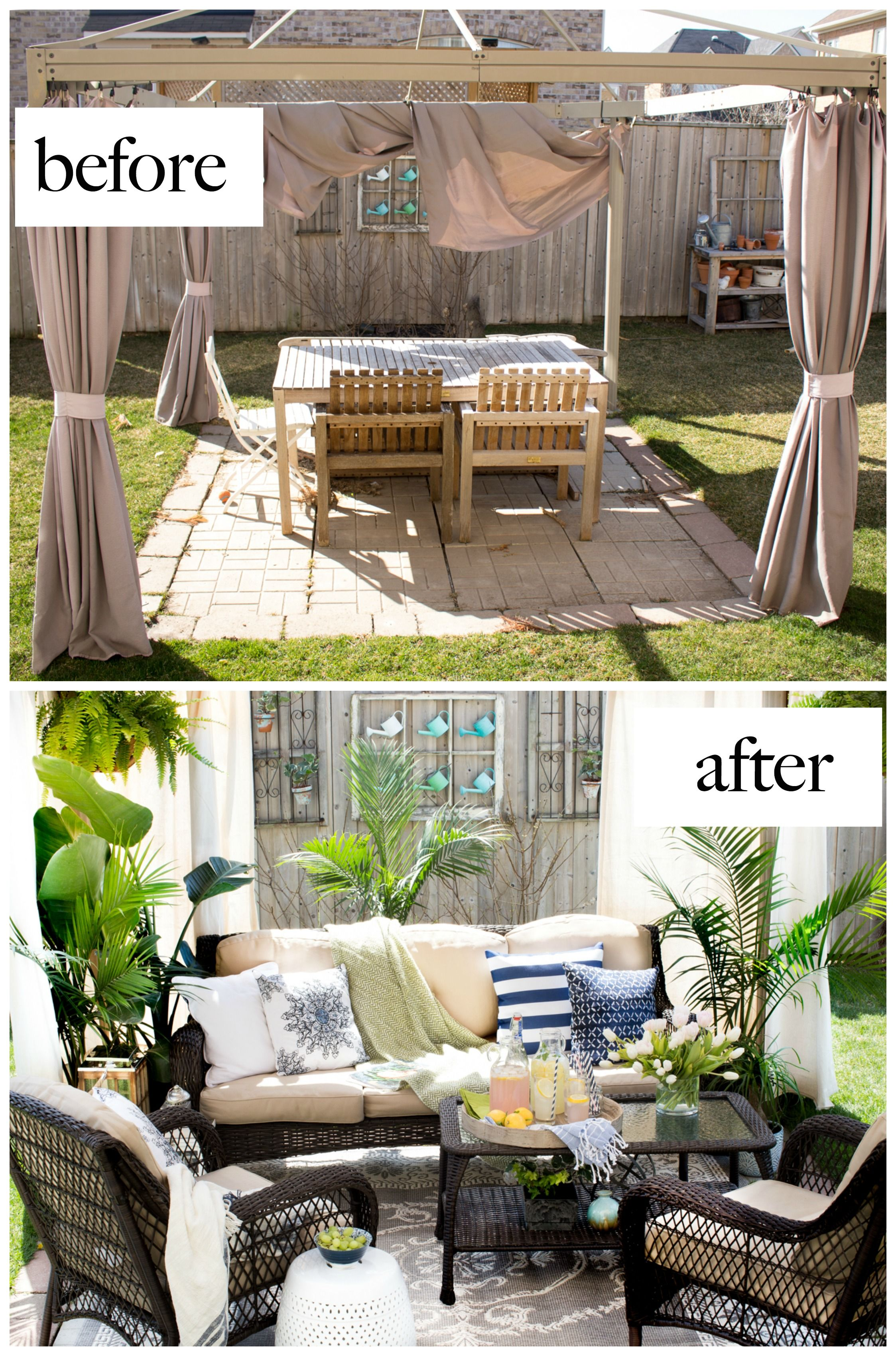 10 Beautiful Outdoor Makeovers And Sweet Words From Our Girl Beneath My Heart Patio Makeover Patio Design Outdoor Rooms