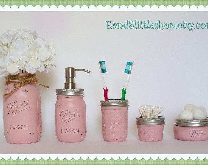 Mason Jar Bathroom Set of 5-Pink-RustProof Soap Pump  Lid- Wedding