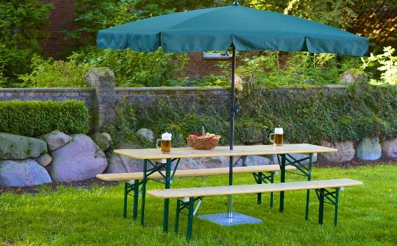 Beer Garden Table Benches with Green Rectangle Umbrella | Fantasy ...