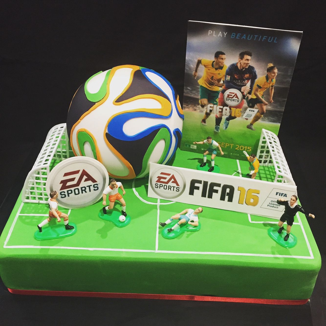 FIFA  Themed Cake With A D Soccer Ball Cake On Top - Cake birthday games