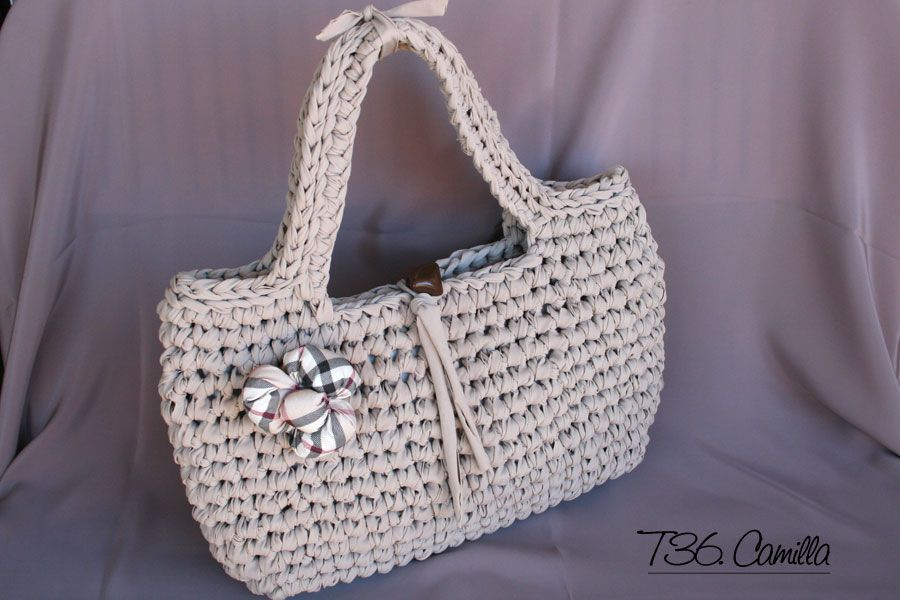 The bags of Lulu: Handbag Camilla in light taupe color ribbon