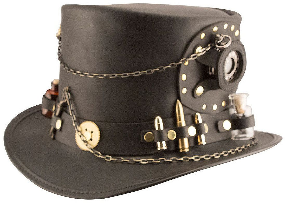 241f91af91d Steampunk Hatter Brand Time Port Black Leather Top Hat by Head n Home Hats