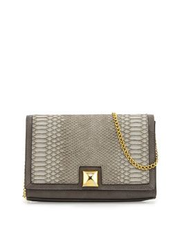 V20WG Neiman Marcus Snake-Print Embossed Faux-Leather Flap Clutch, Gray