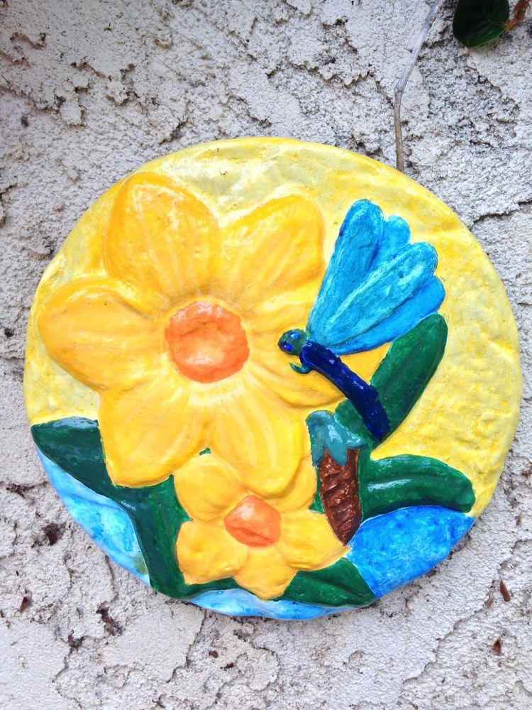 Handcrafted wall plaque/dragonfly/flowers/indoor/outdoors/hanging ...