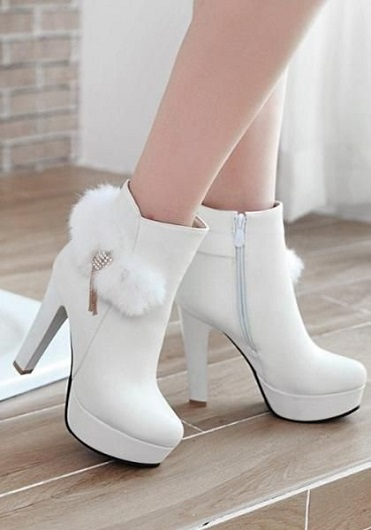 New Womens Round Toe Platform High Stiletto Heel Zip Ankle Boots Shoes Stylish