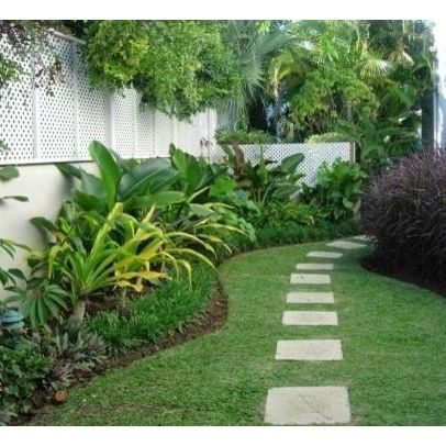 Tropical landscape ideas along fences walkway for side for Beach house landscaping plants
