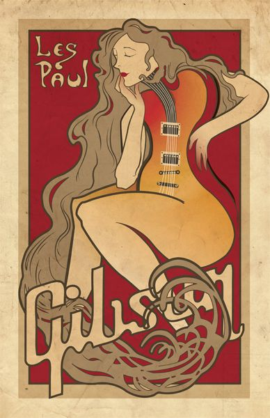 Gibson Vintage Poster, looking for info on this one.(Amanda C Reilly website) #gibsonguitars