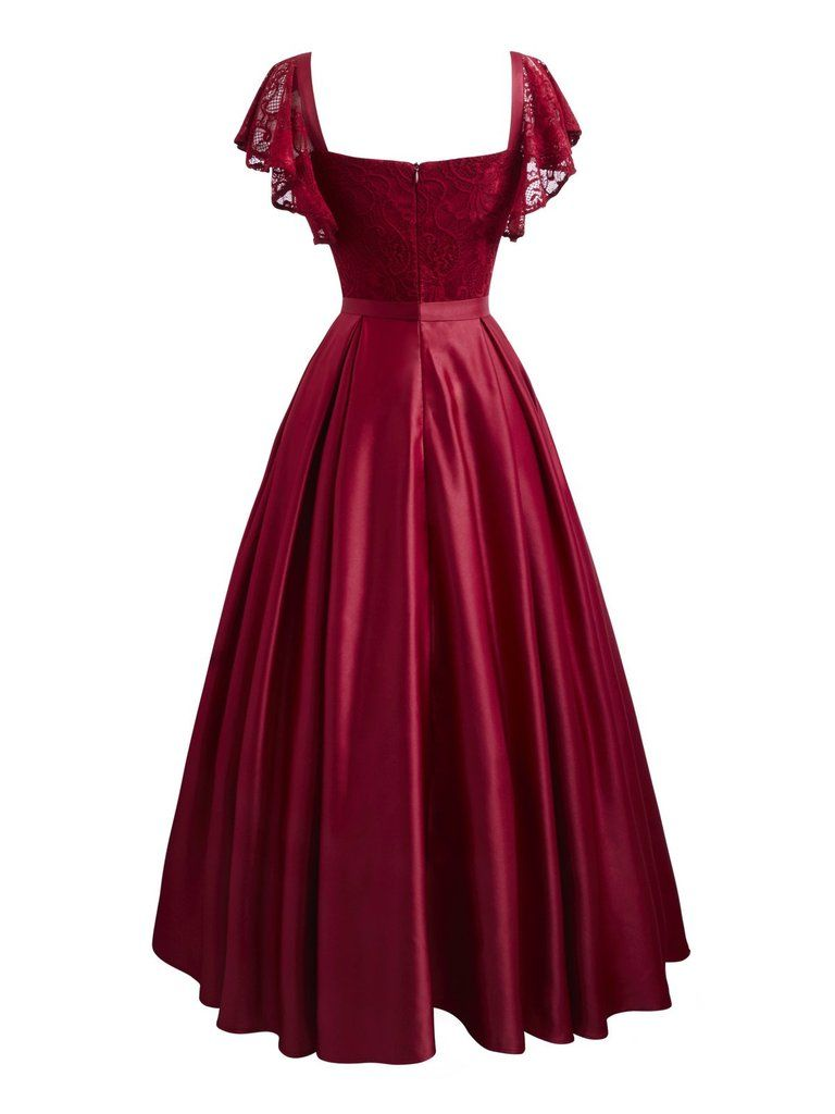 Wine Red 1950s Lace Satin Dress In 2020 Satin Dresses Vintage Formal Dresses Lace Swing Dress