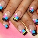 pretty combination of blye and black nail painting design