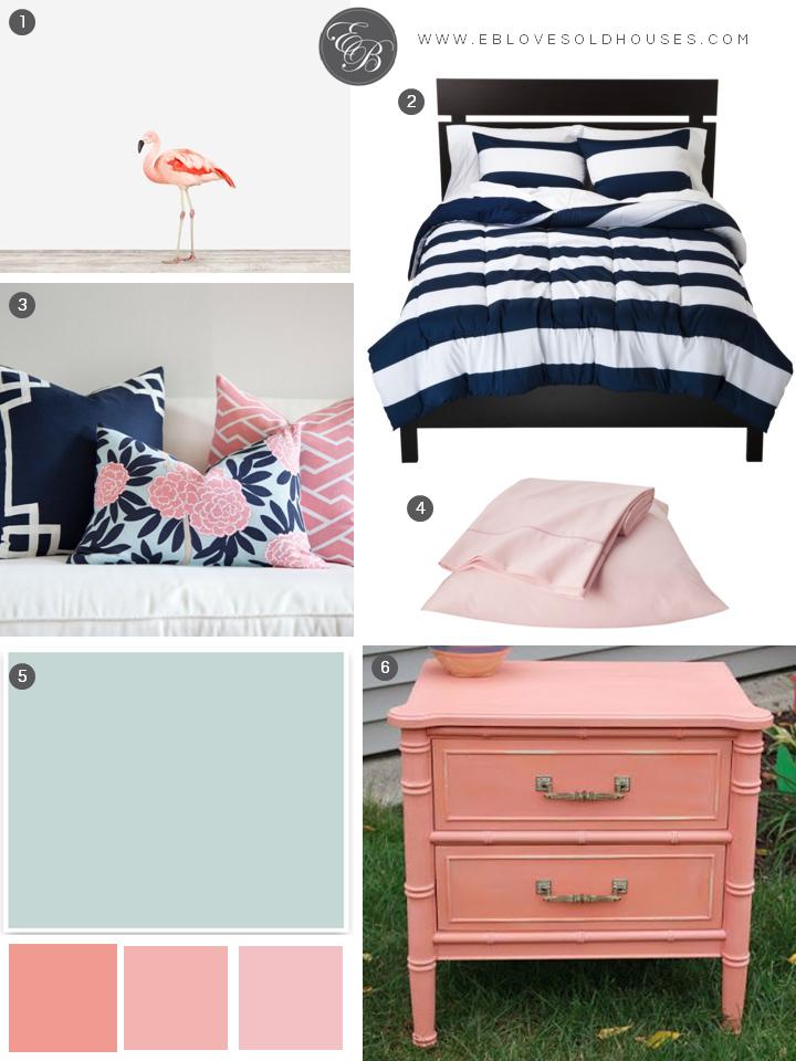 Elizabeth Burns Design | Beach Room Design   Navy And Pink Bedroom With  Flamingo Decor