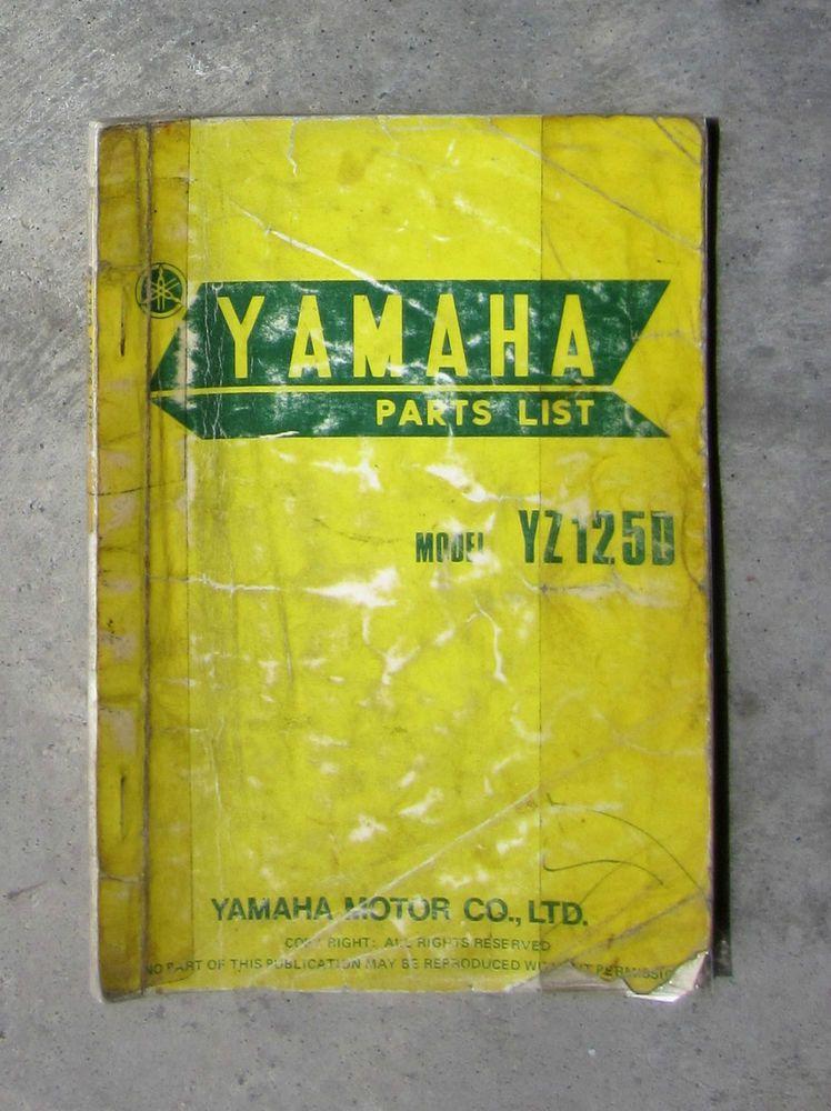 Yamaha Yz125 1976 Workshop Parts List Manual For Yz 125 Service