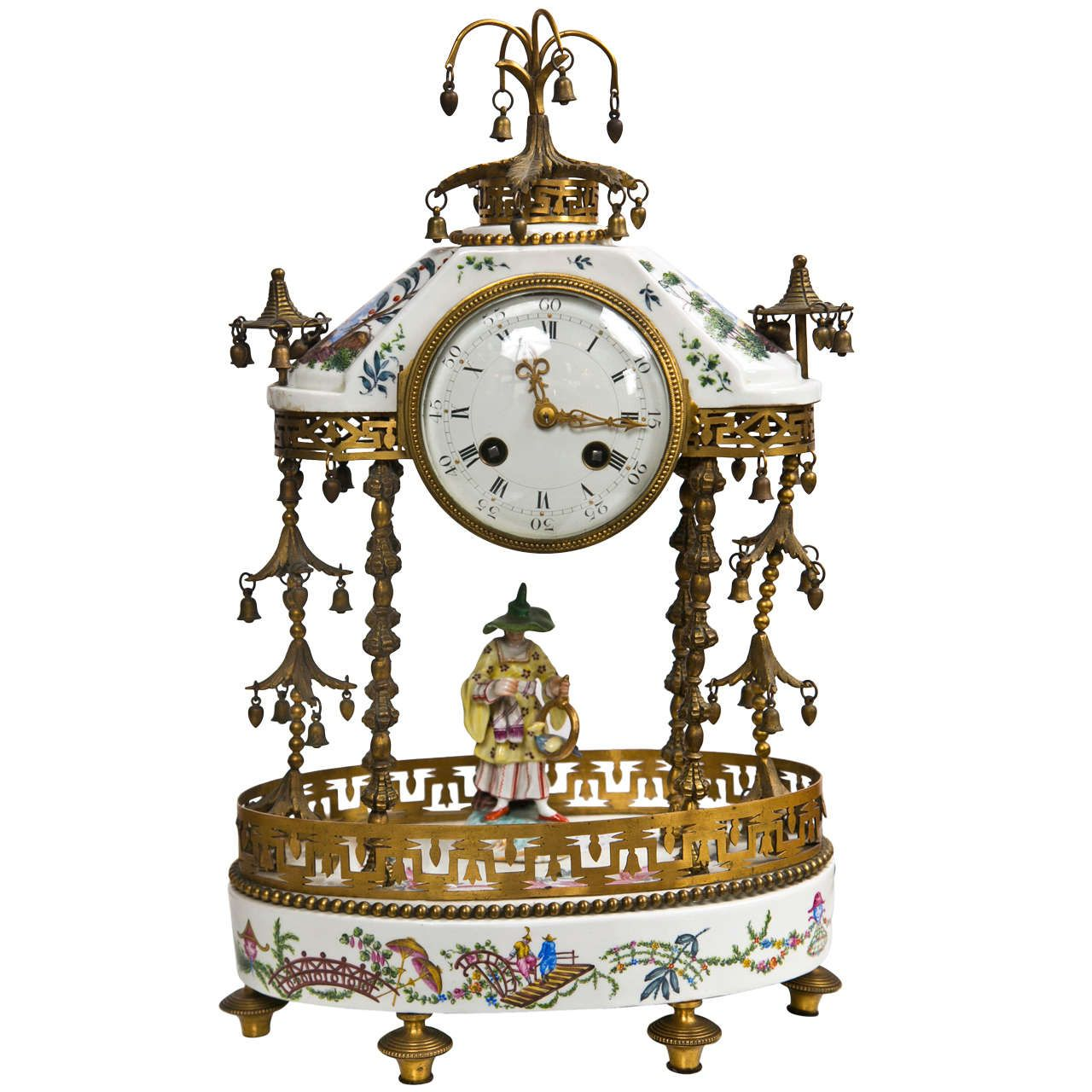 Antique 19th Century Porcelain Table Clock by J.E.Caldwell & Sons