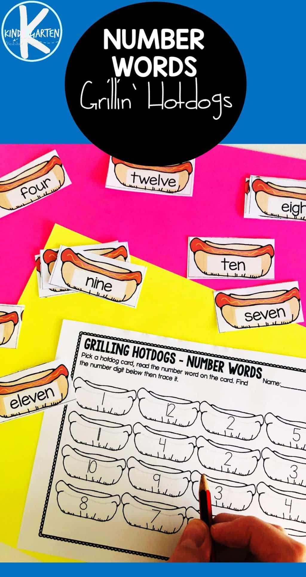 Free Hotdogs Number Words Activity In